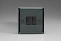Varilight 2 Gang 2 Way 10A Rocker Light Switch Iridium Black Black Switch - XI2B